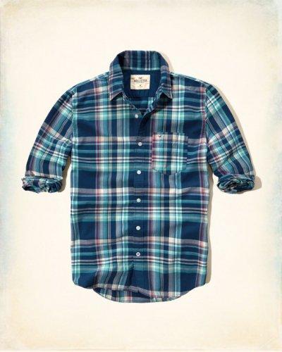 [ホリスター]Plaid Poplin Shirt(ネイビー)