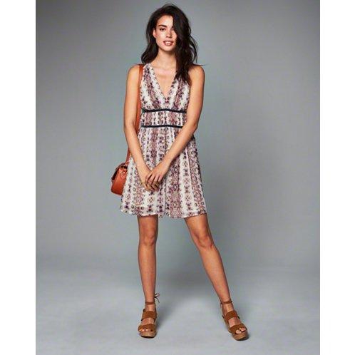 [アバクロ]Printed Strappy Skater Dress(クリームパターン)