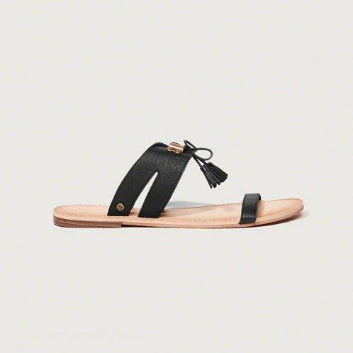 [アバクロ]Tassel Slide Sandals(ブラック)