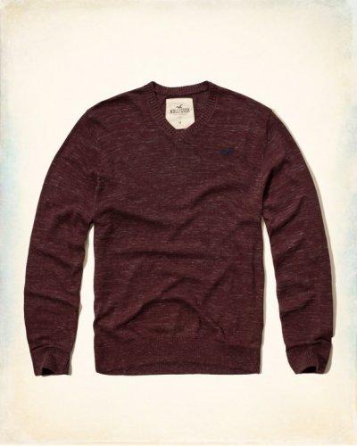 [ホリスター]Textured V-Neck Icon Sweater(バーガンディ)