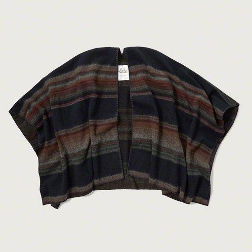 [アバクロ]Woolrich Blanket Poncho(ネイビーパターン)