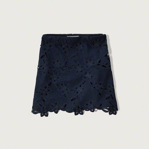 [アバクロ]Lace A-Line Skirt(ネイビー)