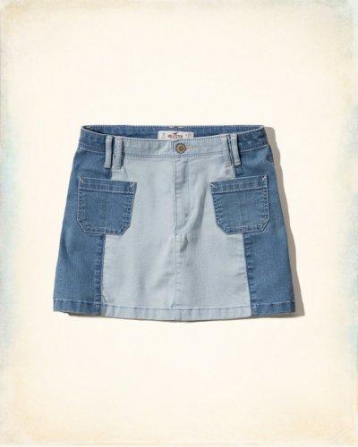 [ホリスター]Colorblock Denim A-line Skirt(ミディアム&ライトウォッシュ)