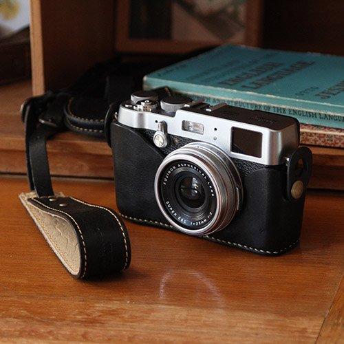 富士フイルムX100F/X100T/X100S/X100ホルダー&カメラストラップ(ブラック)【受注生産品】
