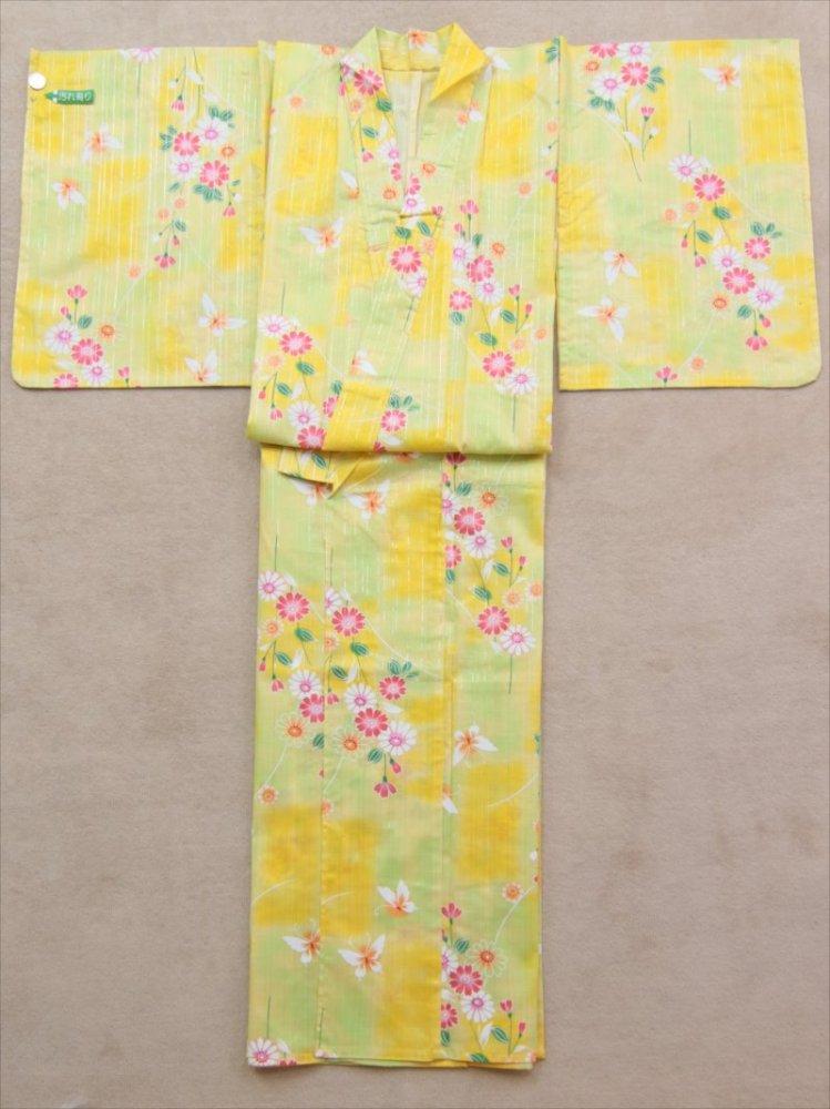 ワケアリ浴衣 SY-158  黄色地・蝶とコスモス柄