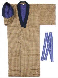 綿入り丹前・褞袍(どてら) tz-50 格子柄・路考茶色(丹前帯付)