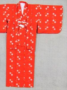 7,8才用子供ウール着物・羽織り ksk-32  赤地・花柄
