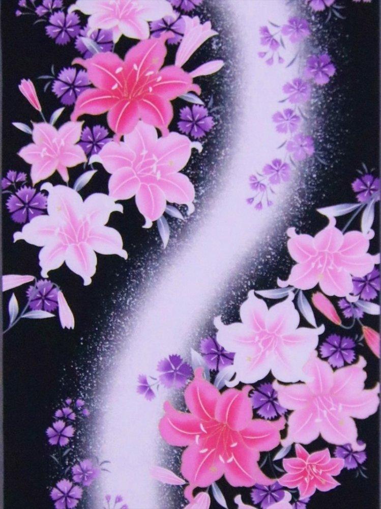 ゆかた反物 No.37  桜・チョウ柄・黒地