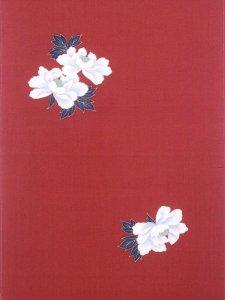 ウールきもの反物   No.4  赤エンジ地・牡丹柄