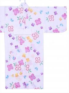 ベビー浴衣(日本製)1,2才 SY-1 白地・花水木柄/赤ちゃん用手染めゆかた仕立て上がり