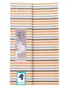 綿紬着物たんもの kr-19  ベージュ地・縞柄/先織り小巾生地  両面同柄織り 耳あり