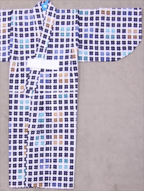 男児子供浴衣  SY-61   白地・井桁柄・7,8才