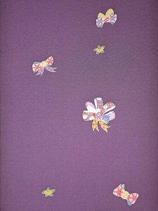 ジュニア着物反物 kk-37  紫地・リボン柄