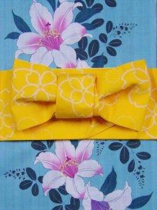 浴衣の帯 No.71  黄色地 さくら柄/小袋帯、四寸帯、ゆかた帯、袴下帯、リバーシブル帯、両面帯、半巾帯、半幅帯、