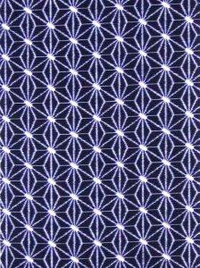 綿 反物 kr-1  濃紺地・麻の葉柄/浜松産・染め絣り 片面染め・耳あり