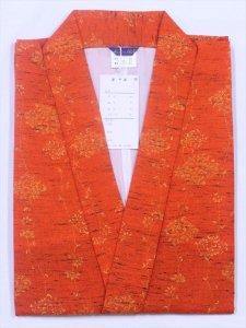 訳あり・和装 コート No.50 オレンジ地/ウールコート・単衣・赤地