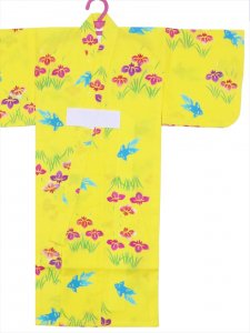 ベビー浴衣(日本製)1,2才 SY-3 黄色地・アヤメ柄/赤ちゃん用手染めゆかた仕立て上がり