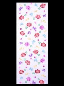 浴衣反物ハギレ  No.7 アジサイ柄・白地  長さ90cm以上/ゆかたのハギレ(両面染め・耳あり)