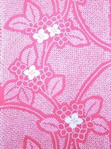 絞り風浴衣反物 No.24 ピンク地・アジサイ柄