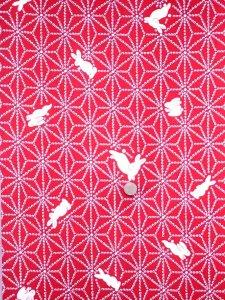 ウール 着物 反物 No.50  赤地・ウサギ柄/ウール反物  きもの生地