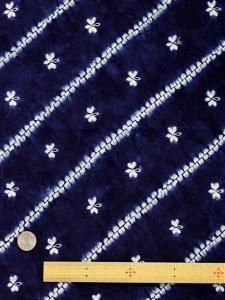 絞り 布  No.10 藍染・斜線・花柄