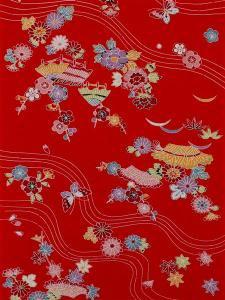 紅型長襦袢 No.10  赤地