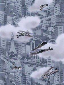 長襦袢 レトロな街並みと飛行機 No.14
