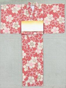 高級着物 既製品 sk-4  桜柄・橙桃色・L寸