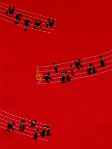 ネコの音譜 No.30  赤地長襦袢