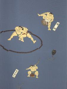 相撲柄・ブルー地 No.31  キングサイズ長襦袢地