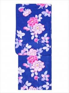 浴衣 フリーサイズ SY-101  紺地・牡丹柄/ゆかた 格安品