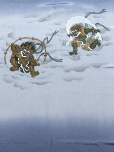男性用 長襦袢 No.33  ブルー柄地・風神雷神柄