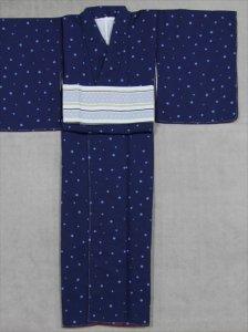 プレタ洗えるキモノ・L寸 sk-28  紺色・みずたま柄
