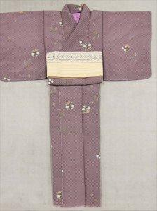 訳有りキモノ sk-31 薄紫 市松地花の丸柄・F寸