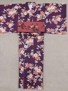 仕立上がり着物・F寸 sk-33 紫色・小菊柄