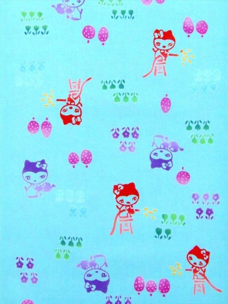 子供浴衣地(7.6m) No.867  ブルー地・花・猫柄