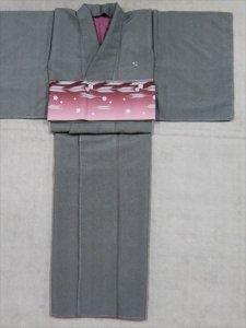 洗えるプレタ着物 L寸 sk-36  グレー地・鮫小紋柄