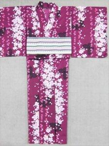 プレタ着物(単衣)・L寸 sk-40  紫地・バラ・チョウ柄