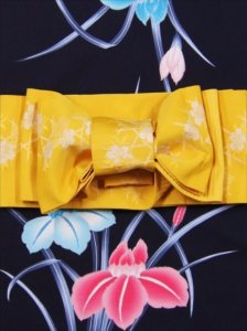 浴衣帯 No.56  桜柄・黄色地/浴衣細帯 黄色地