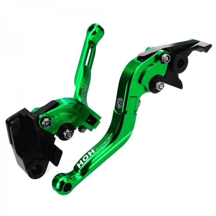 可倒式 ブレーキ&クラッチ レバーセット 6段階アジャスター式 長さ調整可 緑
