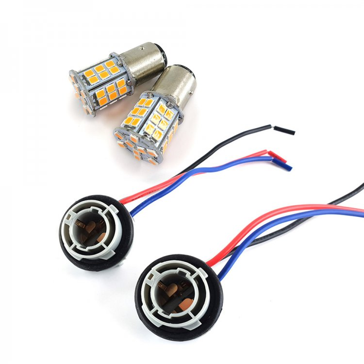 S25D/(2835) (24+21)SMD45連 LEDダブル球 アンバー/アンバー ダブルソケット付き 2個