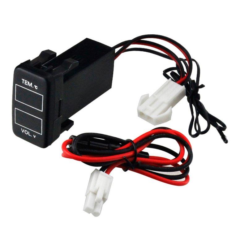 トヨタ車用 温度計 電圧計ポート スイッチパネル 赤/青LED付 12V/24V