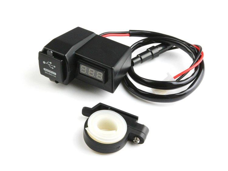バイク用 USB充電器 2USBポート 青LED電圧計 電源スイッチ 防水仕様 ヒューズ付 12V/24V