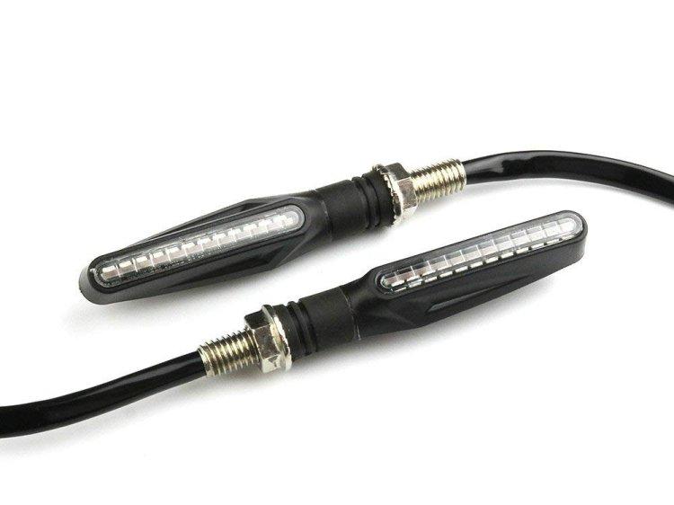 バイク 12球内蔵 LEDウインカー 流れるタイプ 破損軽減 柔軟性あり クリア 縦型 12V 左右セット