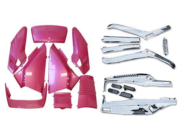 ホンダ フュージョンMF02 ピンク(なでしこ)色 外装アッパー メッキアンダー セット