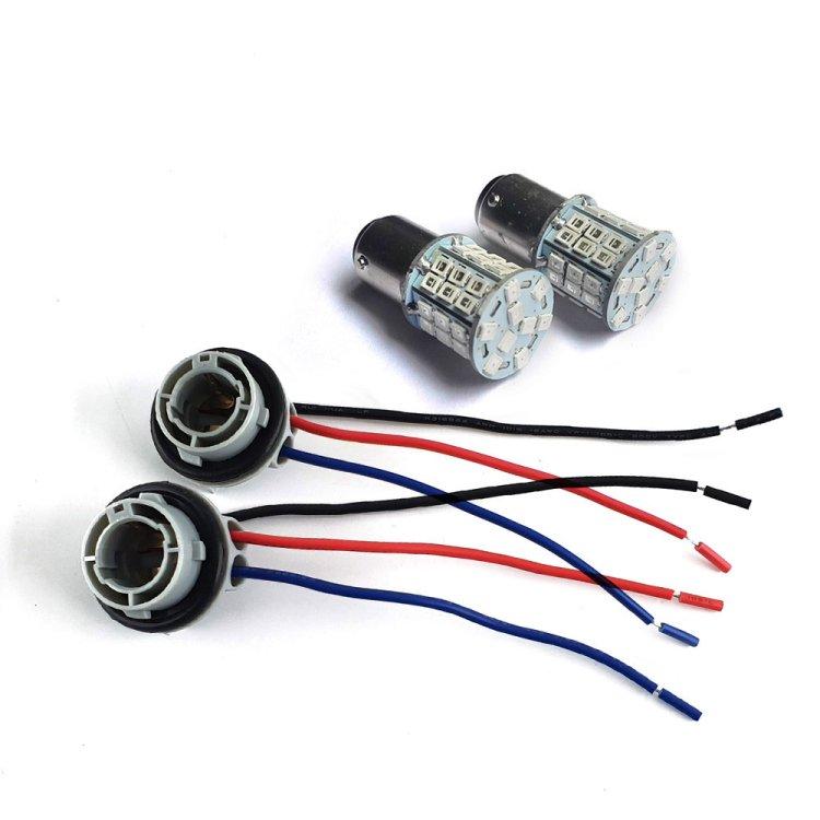 一球二色 S25D/BAY15D 45連SMD(24+21) LEDダブル球 橙/赤 ダブルソケット付き 2個