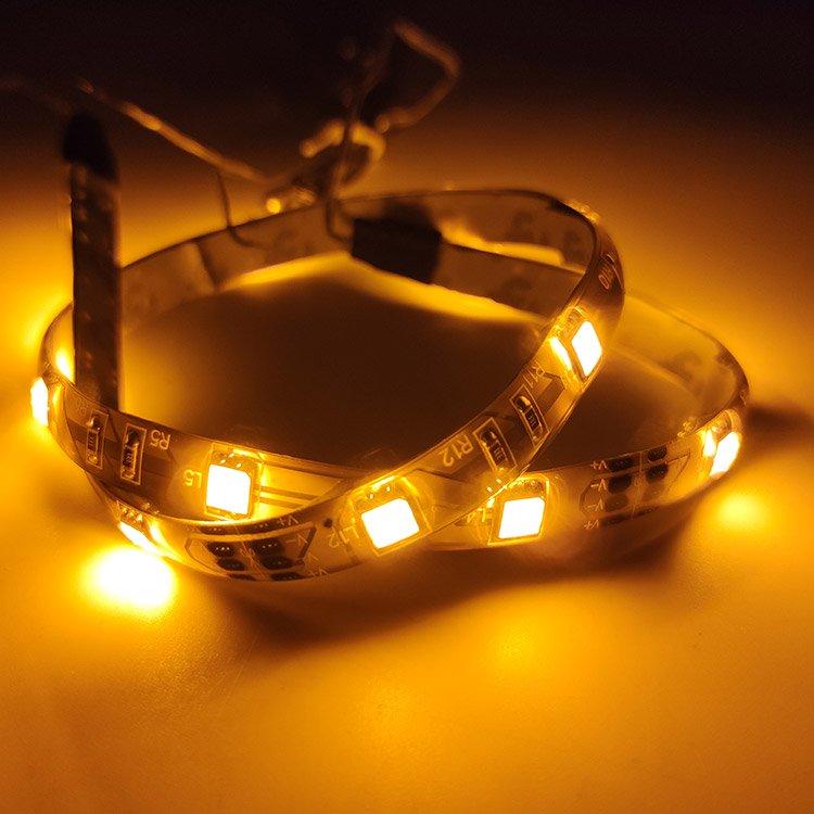 軟体 両側配線 3chip SMD15連 LEDテープライト 50cm 黄 1本 防水 LEDテープライト