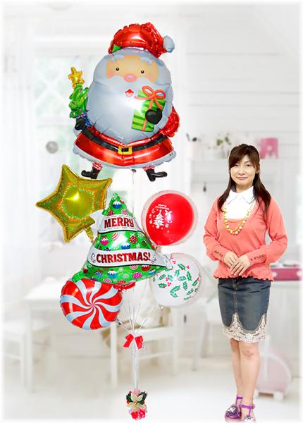 大っきなサンタのメリークリスマスブーケ!【クリスマスプレゼント・クリスマスバルーン・クリスマス風船】