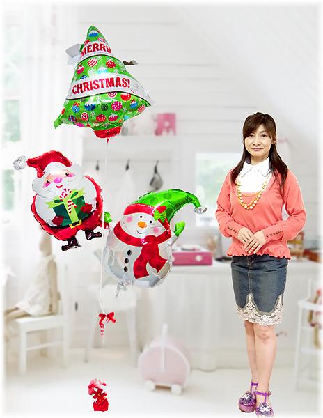 ミニツリーとサンタとスノーマンのブーケ【クリスマスプレゼント・クリスマスバルーン・クリスマス風船】