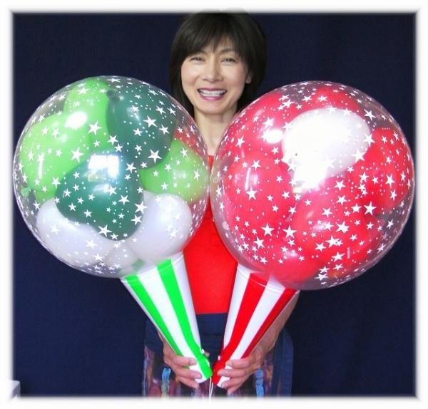 クラッカーバルーン10( 2球セット )クリスマスカラー【クリスマスプレゼント・クリスマスバルーン・クリスマス風…